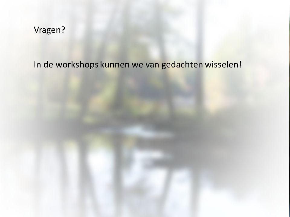 Vragen? In de workshops kunnen we van gedachten wisselen!