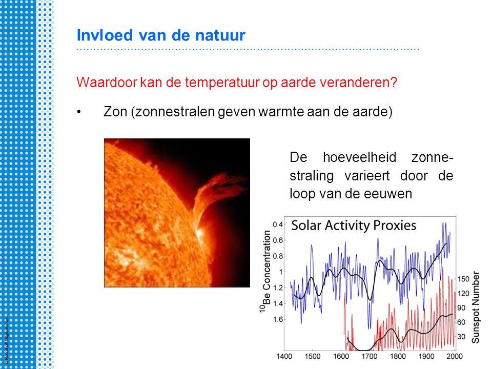 Invloed van de natuur Waardoor kan de temperatuur op aarde veranderen? Zon (zonnestralen geven warmte aan de aarde) De hoeveelheid zonne- straling var