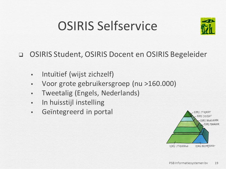 19 PSB Informatiesystemen bv OSIRIS Selfservice  OSIRIS Student, OSIRIS Docent en OSIRIS Begeleider  Intuïtief (wijst zichzelf)  Voor grote gebruik