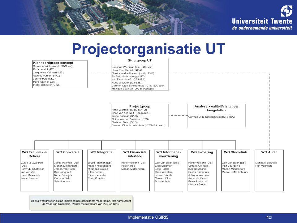 Implementatie OSIRIS 4 Projectorganisatie UT