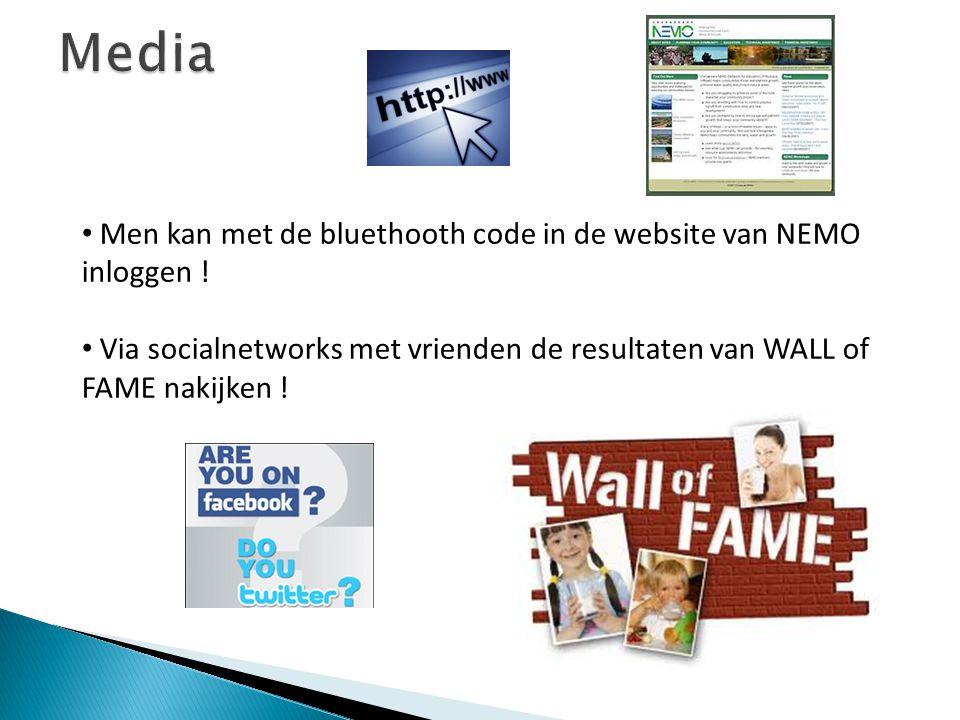 Men kan met de bluethooth code in de website van NEMO inloggen ! Via socialnetworks met vrienden de resultaten van WALL of FAME nakijken !