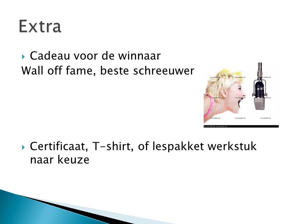  Cadeau voor de winnaar Wall off fame, beste schreeuwer  Certificaat, T-shirt, of lespakket werkstuk naar keuze