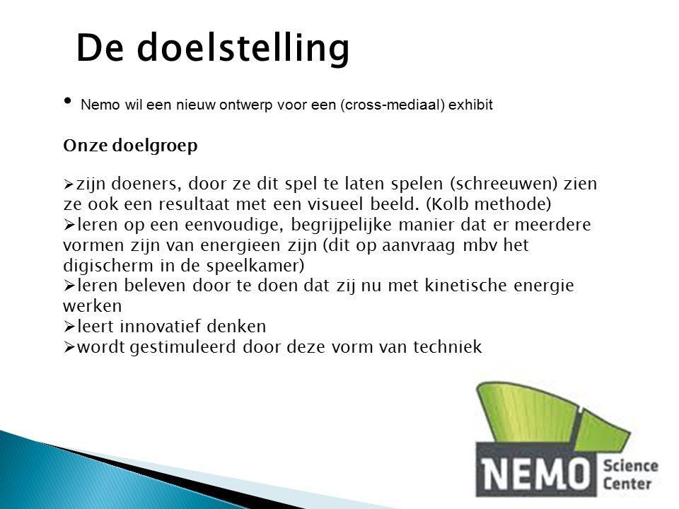 Nemo wil een nieuw ontwerp voor een (cross-mediaal) exhibit Onze doelgroep  zijn doeners, door ze dit spel te laten spelen (schreeuwen) zien ze ook e