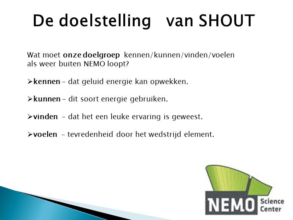 Wat moet onze doelgroep kennen/kunnen/vinden/voelen als weer buiten NEMO loopt?  kennen - dat geluid energie kan opwekken.  kunnen - dit soort energ