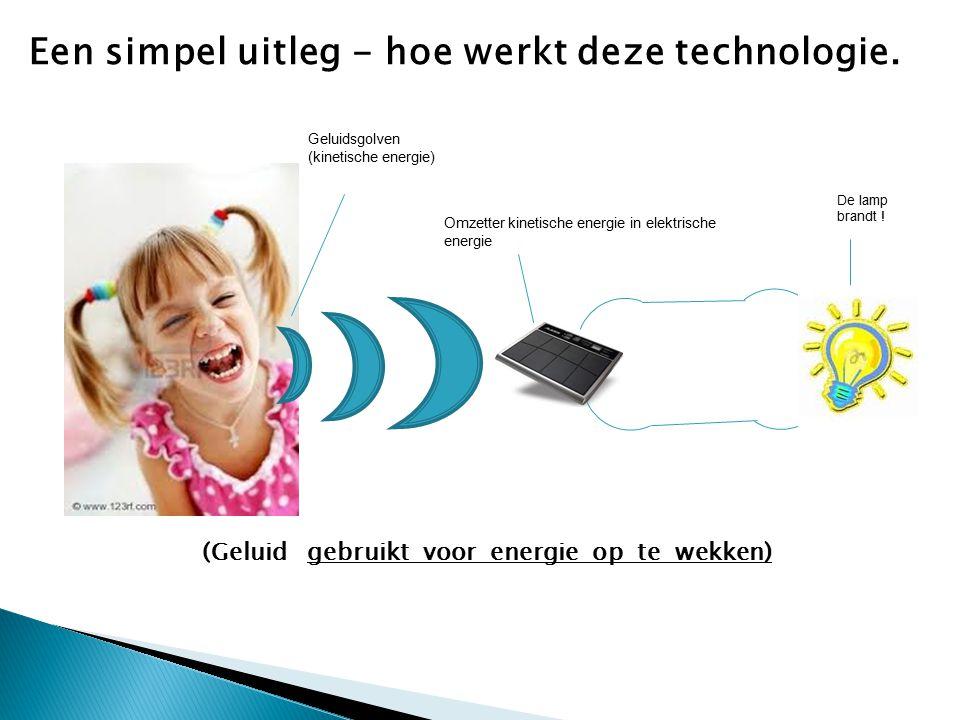 (Geluid gebruikt voor energie op te wekken) Een simpel uitleg - hoe werkt deze technologie. Geluidsgolven (kinetische energie) Omzetter kinetische ene