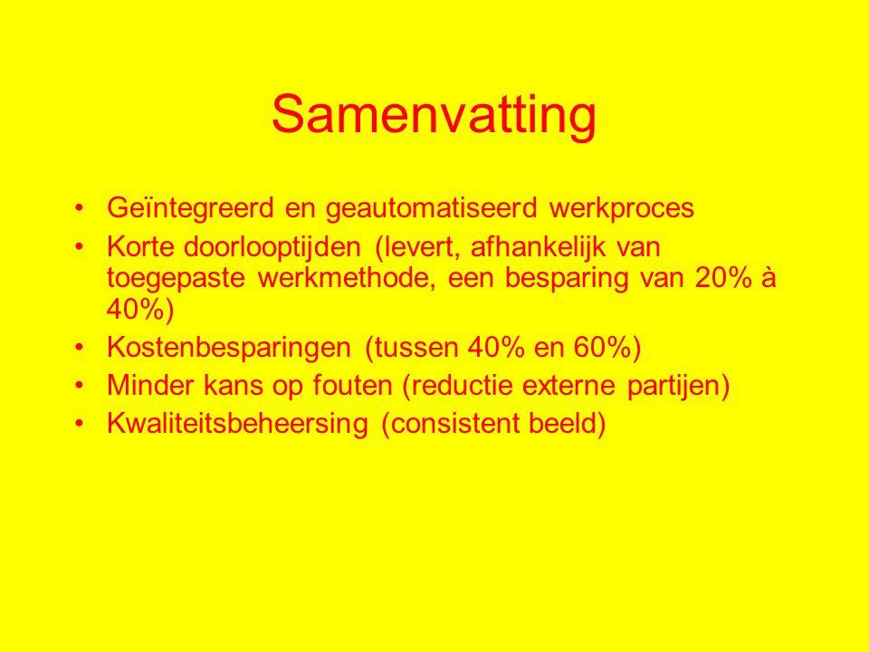 Samenvatting Geïntegreerd en geautomatiseerd werkproces Korte doorlooptijden (levert, afhankelijk van toegepaste werkmethode, een besparing van 20% à 40%) Kostenbesparingen (tussen 40% en 60%) Minder kans op fouten (reductie externe partijen) Kwaliteitsbeheersing (consistent beeld)