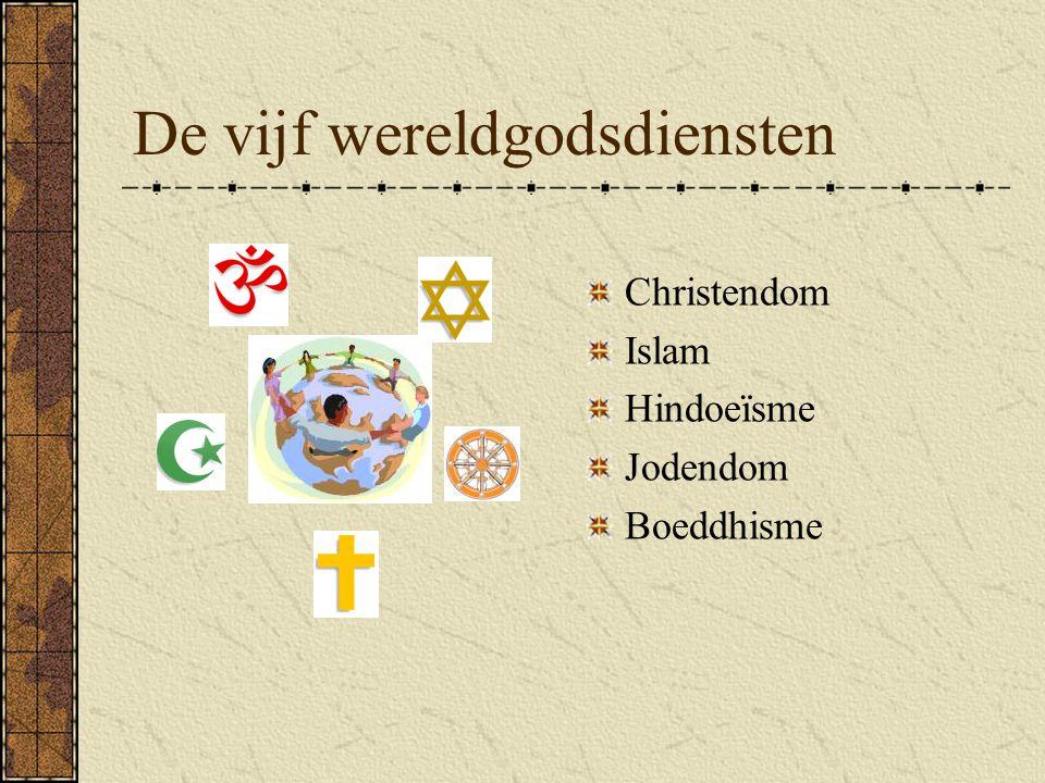 De vijf wereldgodsdiensten Christendom Islam Hindoeïsme Jodendom Boeddhisme