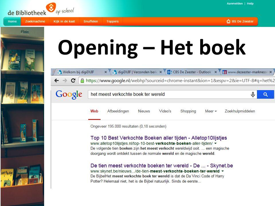 Opening – Het boek