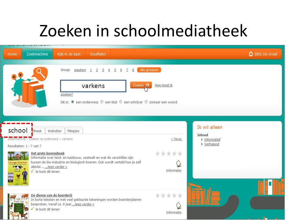 Zoeken in schoolmediatheek sschool varkens