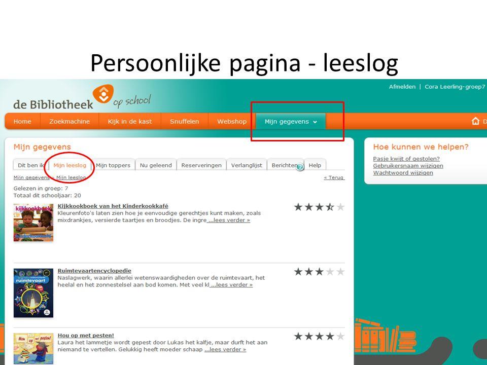 Persoonlijke pagina - leeslog
