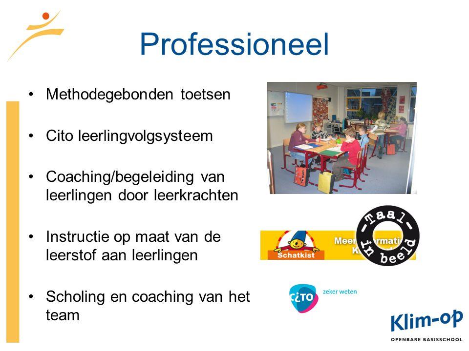 Professioneel Methodegebonden toetsen Cito leerlingvolgsysteem Coaching/begeleiding van leerlingen door leerkrachten Instructie op maat van de leersto