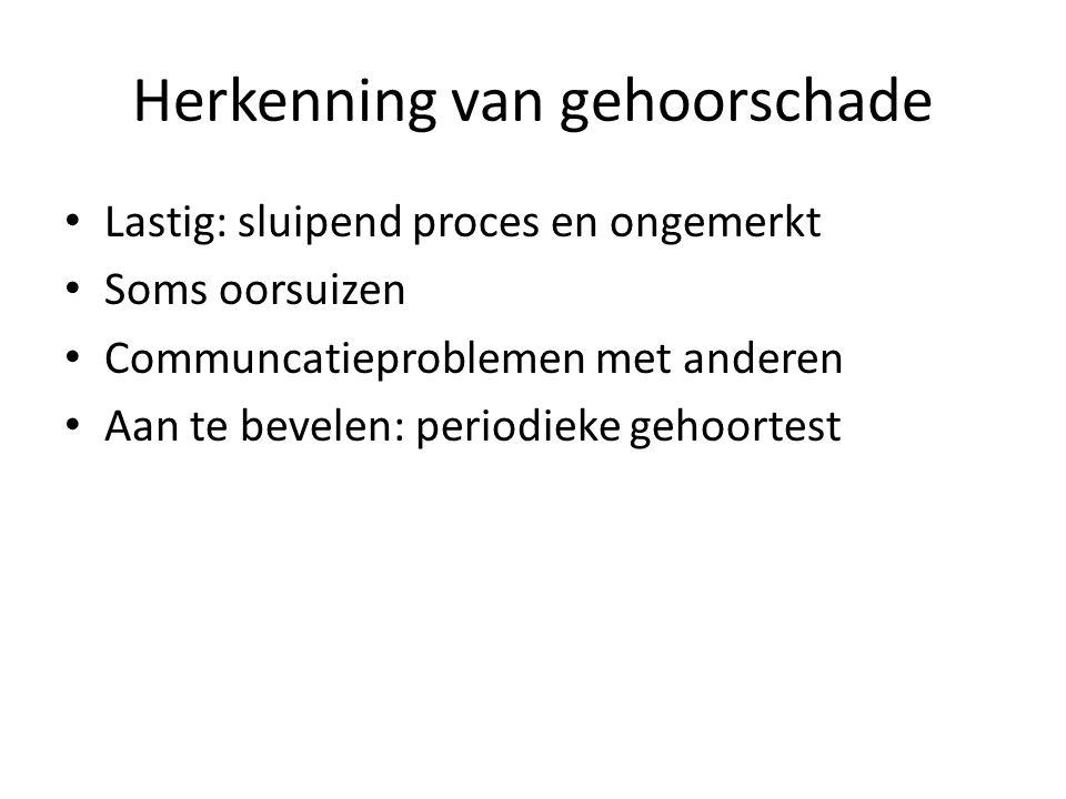 Herkenning van gehoorschade Lastig: sluipend proces en ongemerkt Soms oorsuizen Communcatieproblemen met anderen Aan te bevelen: periodieke gehoortest
