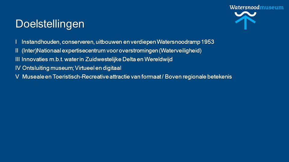 Doelstellingen I Instandhouden, conserveren, uitbouwen en verdiepen Watersnoodramp 1953 II (Inter)Nationaal expertisecentrum voor overstromingen (Waterveiligheid) III Innovaties m.b.t.