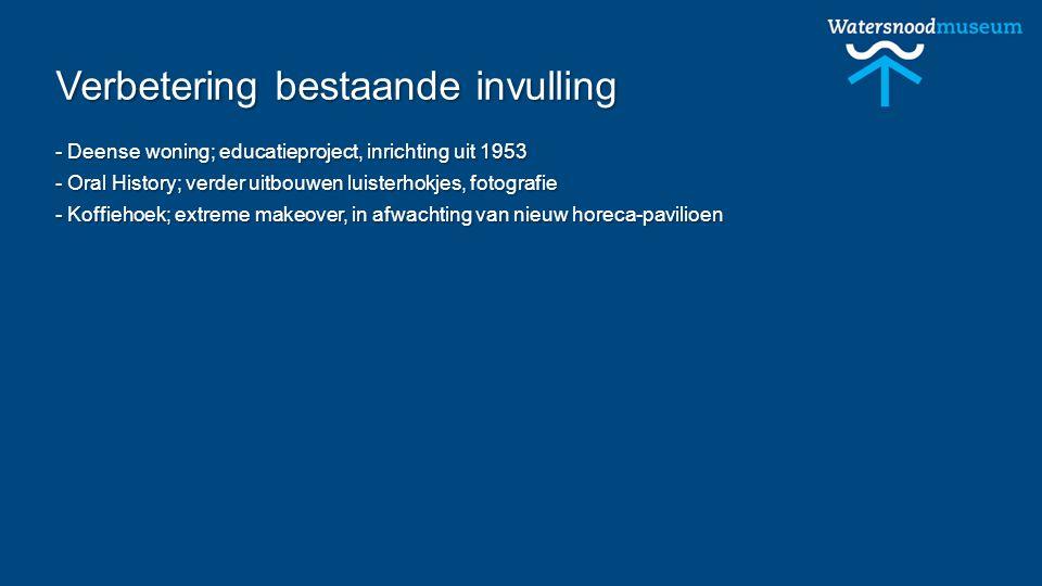 Verbetering bestaande invulling - Deense woning; educatieproject, inrichting uit 1953 - Oral History; verder uitbouwen luisterhokjes, fotografie - Koffiehoek; extreme makeover, in afwachting van nieuw horeca-pavilioen