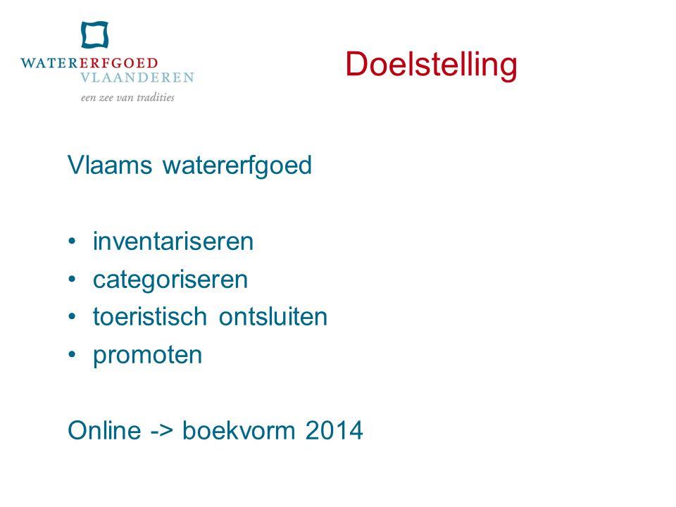 Doelstelling Vlaams watererfgoed inventariseren categoriseren toeristisch ontsluiten promoten Online -> boekvorm 2014