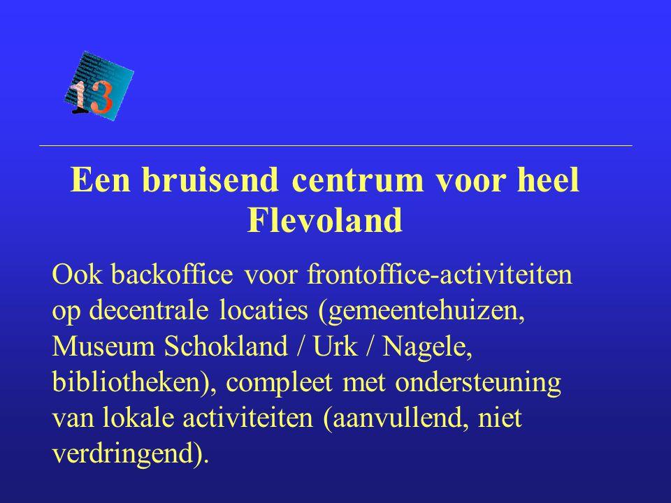 Ook backoffice voor frontoffice-activiteiten op decentrale locaties (gemeentehuizen, Museum Schokland / Urk / Nagele, bibliotheken), compleet met ondersteuning van lokale activiteiten (aanvullend, niet verdringend).