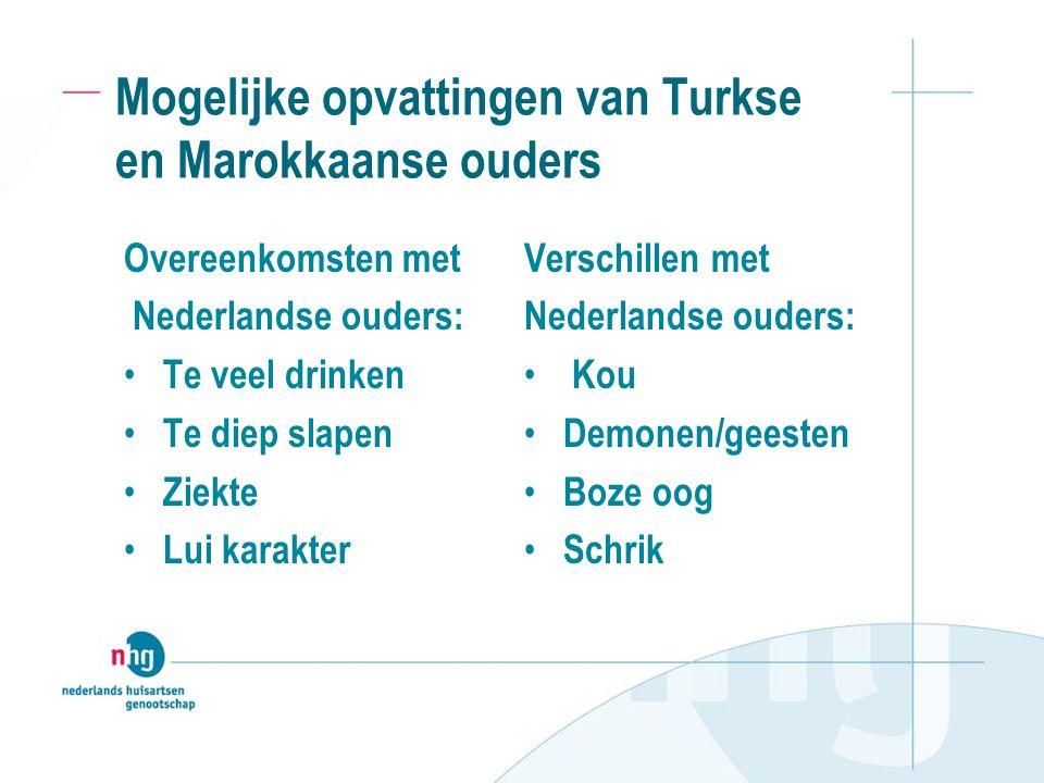 Mogelijke opvattingen van Turkse en Marokkaanse ouders Overeenkomsten met Nederlandse ouders: Te veel drinken Te diep slapen Ziekte Lui karakter Verschillen met Nederlandse ouders: Kou Demonen/geesten Boze oog Schrik