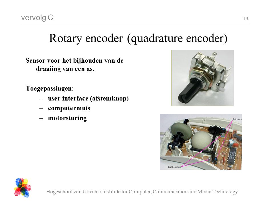 vervolg C Hogeschool van Utrecht / Institute for Computer, Communication and Media Technology 13 Rotary encoder (quadrature encoder) Sensor voor het b