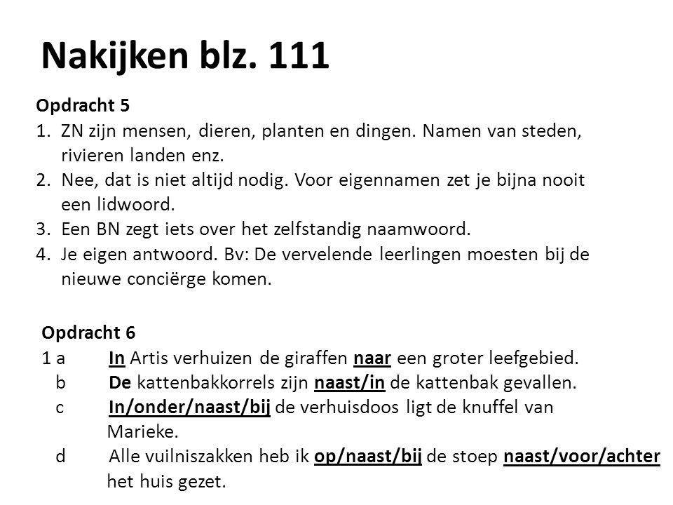 Nakijken blz. 111 Opdracht 5 1.ZN zijn mensen, dieren, planten en dingen. Namen van steden, rivieren landen enz. 2.Nee, dat is niet altijd nodig. Voor