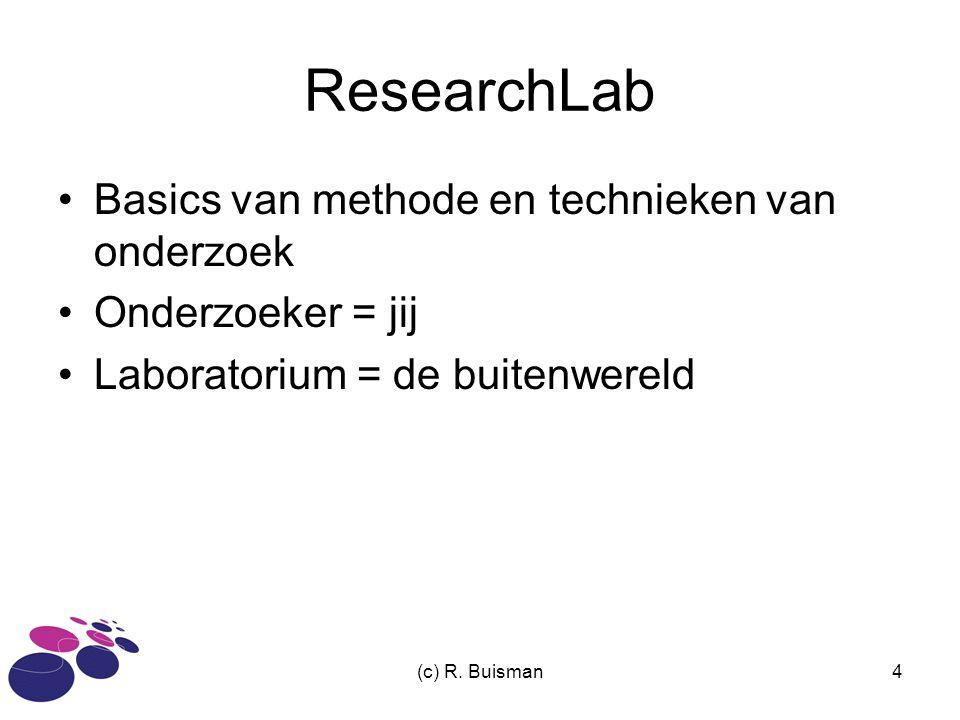 (c) R. Buisman4 ResearchLab Basics van methode en technieken van onderzoek Onderzoeker = jij Laboratorium = de buitenwereld