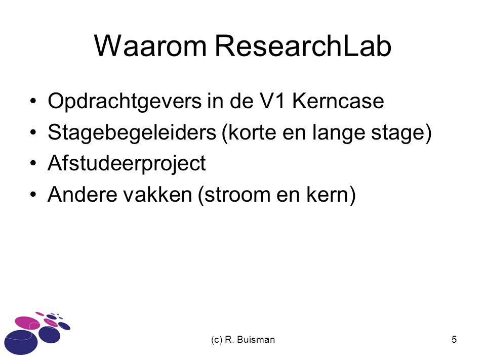 (c) R. Buisman5 Waarom ResearchLab Opdrachtgevers in de V1 Kerncase Stagebegeleiders (korte en lange stage) Afstudeerproject Andere vakken (stroom en