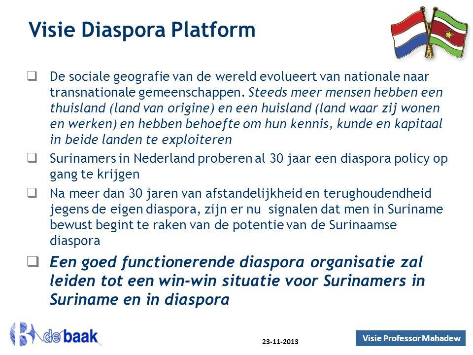 Visie Diaspora Platform  De sociale geografie van de wereld evolueert van nationale naar transnationale gemeenschappen. Steeds meer mensen hebben een