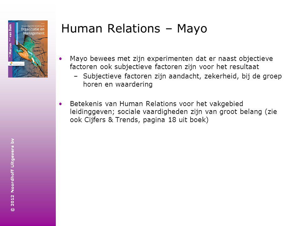 © 2012 Noordhoff Uitgevers bv Human Relations – Mayo Mayo bewees met zijn experimenten dat er naast objectieve factoren ook subjectieve factoren zijn