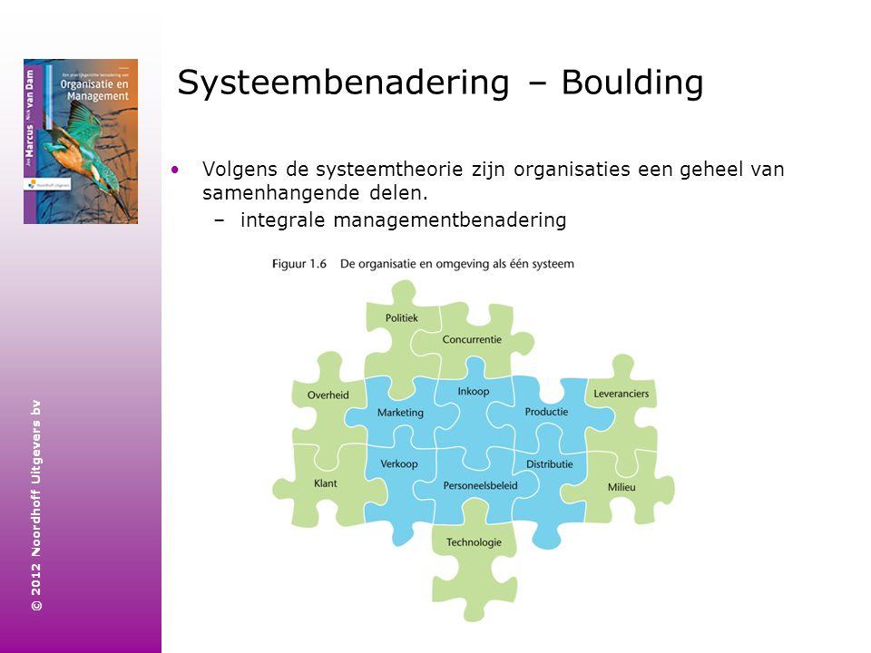 © 2012 Noordhoff Uitgevers bv Systeembenadering – Boulding Volgens de systeemtheorie zijn organisaties een geheel van samenhangende delen. –integrale