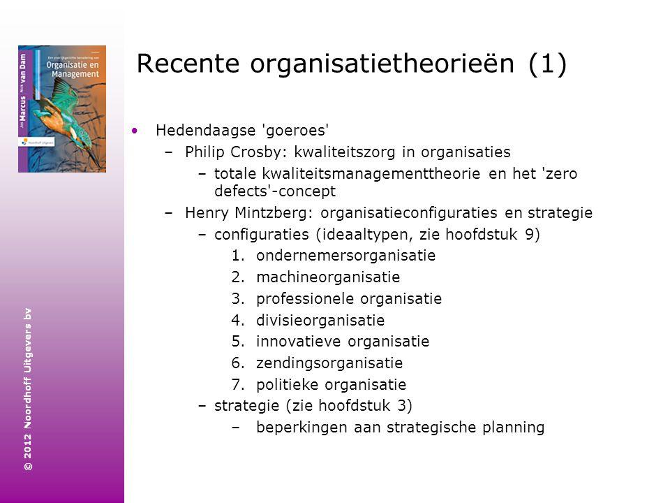 © 2012 Noordhoff Uitgevers bv Recente organisatietheorieën (1) Hedendaagse 'goeroes' –Philip Crosby: kwaliteitszorg in organisaties –totale kwaliteits