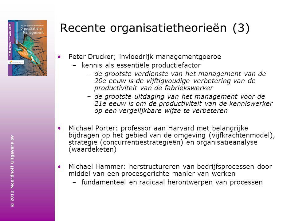 © 2012 Noordhoff Uitgevers bv Recente organisatietheorieën (3) Peter Drucker; invloedrijk managementgoeroe –kennis als essentiële productiefactor –de