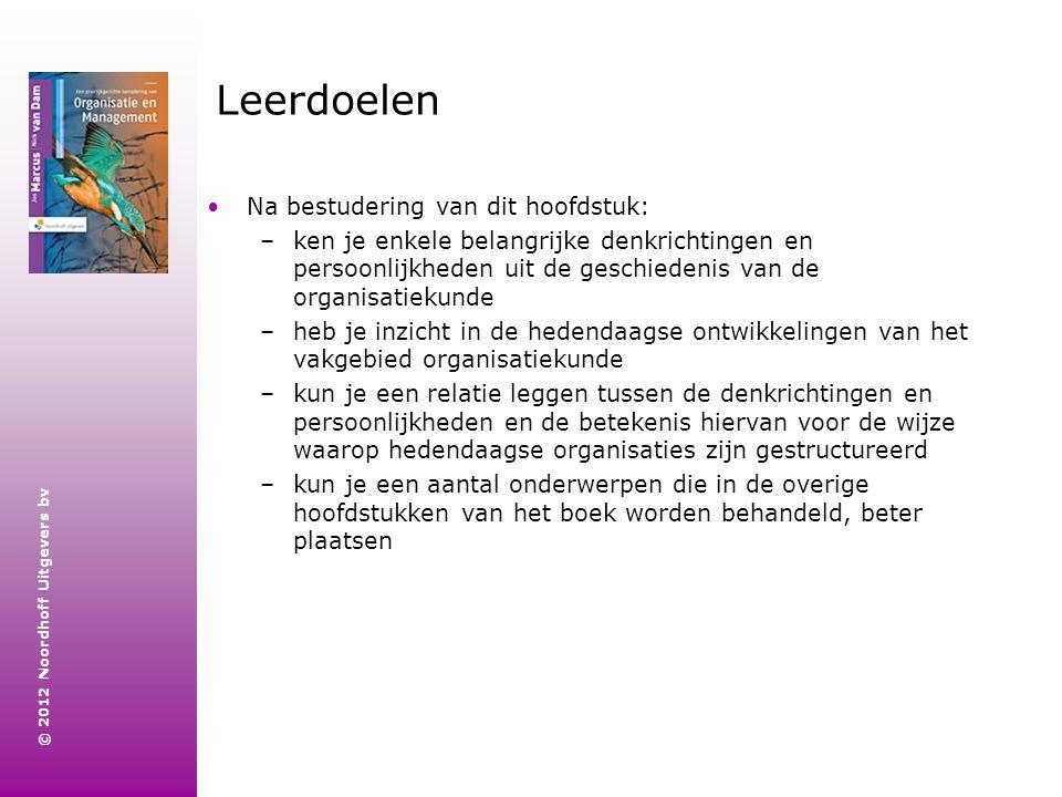 © 2012 Noordhoff Uitgevers bv Leerdoelen Na bestudering van dit hoofdstuk: –ken je enkele belangrijke denkrichtingen en persoonlijkheden uit de geschi