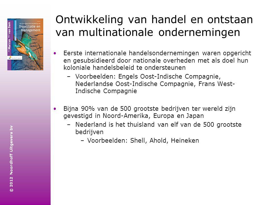 © 2012 Noordhoff Uitgevers bv Ontwikkeling van handel en ontstaan van multinationale ondernemingen Eerste internationale handelsondernemingen waren op