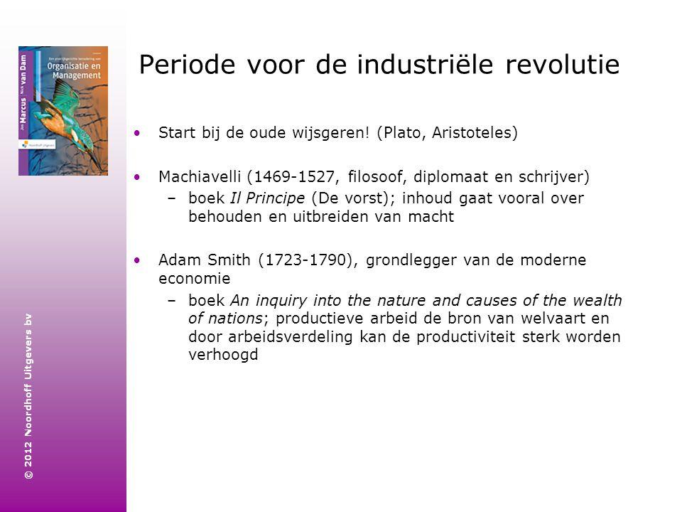 © 2012 Noordhoff Uitgevers bv Periode voor de industriële revolutie Start bij de oude wijsgeren! (Plato, Aristoteles) Machiavelli (1469-1527, filosoof
