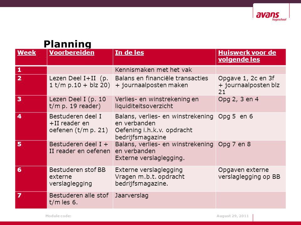 Module code: August 29, 2011 Planning (zie ook BB) WeekVoorbereidenIn de lesHuiswerk voor de volgende les 1 Kennismaken met het vak 2Lezen Deel I+II (