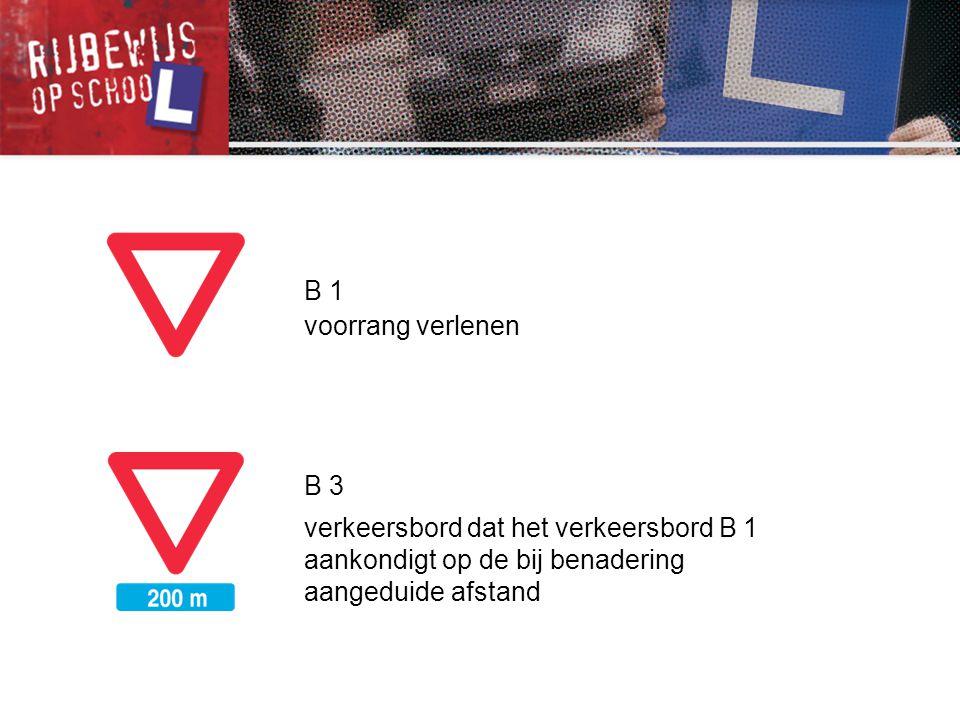 B 1 voorrang verlenen B 3 verkeersbord dat het verkeersbord B 1 aankondigt op de bij benadering aangeduide afstand