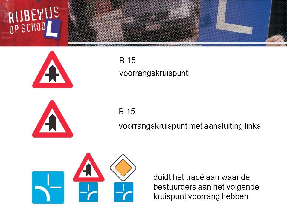 B 21 smalle doorgang: je hebt voorrang op de tegenliggers B 17 kruispunt waar de voorrang van rechts geldt B 19 smalle doorgang: je moet voorrang verlenen aan de tegenliggers