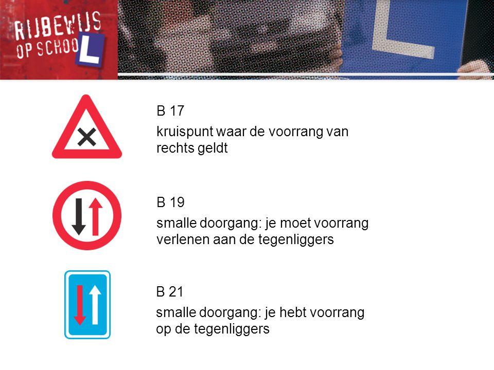 B 21 smalle doorgang: je hebt voorrang op de tegenliggers B 17 kruispunt waar de voorrang van rechts geldt B 19 smalle doorgang: je moet voorrang verl