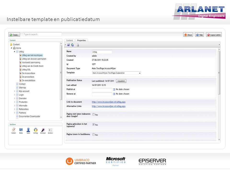 Instelbare template en publicatiedatum