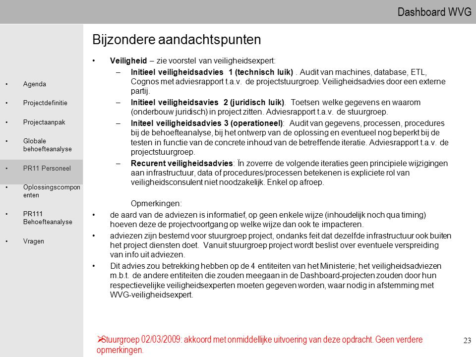 Dashboard WVG Agenda Projectdefinitie Projectaanpak Globale behoefteanalyse PR11 Personeel Oplossingscompon enten PR111 Behoefteanalyse Vragen 23 Bijz