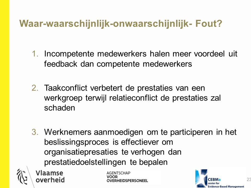 Waar-waarschijnlijk-onwaarschijnlijk- Fout? 23 1.Incompetente medewerkers halen meer voordeel uit feedback dan competente medewerkers 2.Taakconflict v