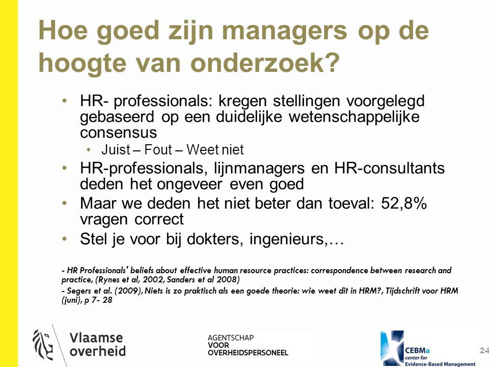Hoe goed zijn managers op de hoogte van onderzoek? 24 HR- professionals: kregen stellingen voorgelegd gebaseerd op een duidelijke wetenschappelijke co