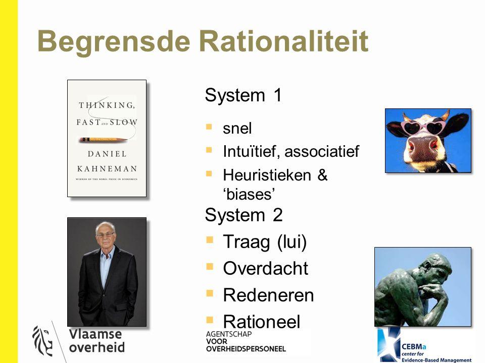 System 1  snel  Intuïtief, associatief  Heuristieken & 'biases' System 2  Traag (lui)  Overdacht  Redeneren  Rationeel Begrensde Rationaliteit