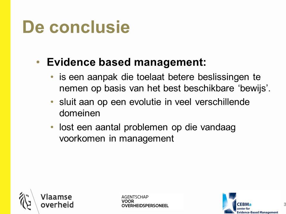 De conclusie 3 Evidence based management: is een aanpak die toelaat betere beslissingen te nemen op basis van het best beschikbare 'bewijs'. sluit aan