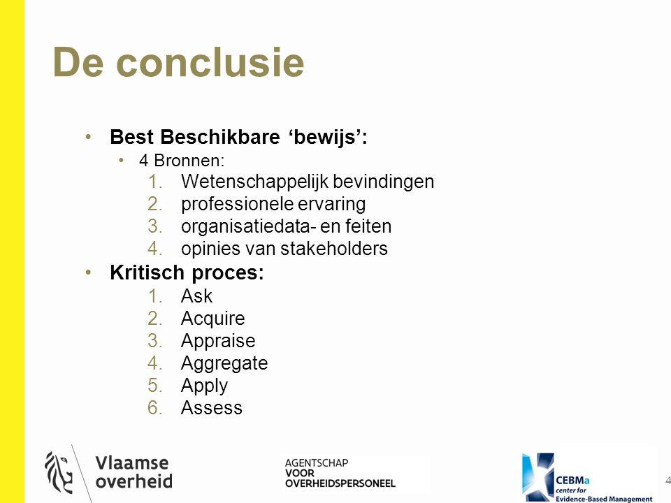 De conclusie 4 Best Beschikbare 'bewijs': 4 Bronnen: 1.Wetenschappelijk bevindingen 2.professionele ervaring 3.organisatiedata- en feiten 4.opinies va