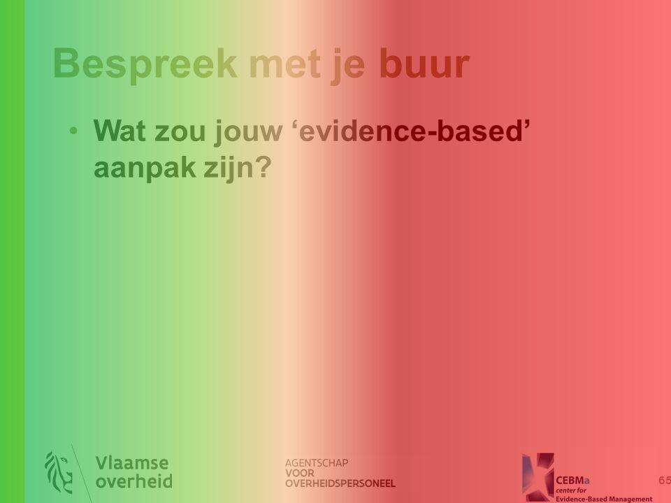 Bespreek met je buur 65 Wat zou jouw 'evidence-based' aanpak zijn?