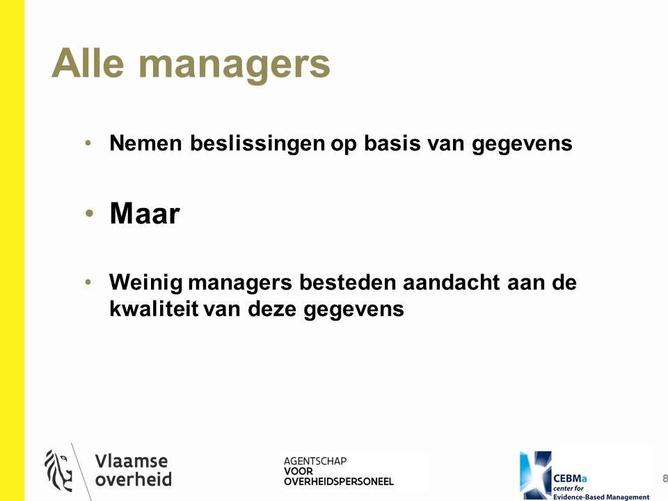 Alle managers 8 Nemen beslissingen op basis van gegevens Maar Weinig managers besteden aandacht aan de kwaliteit van deze gegevens