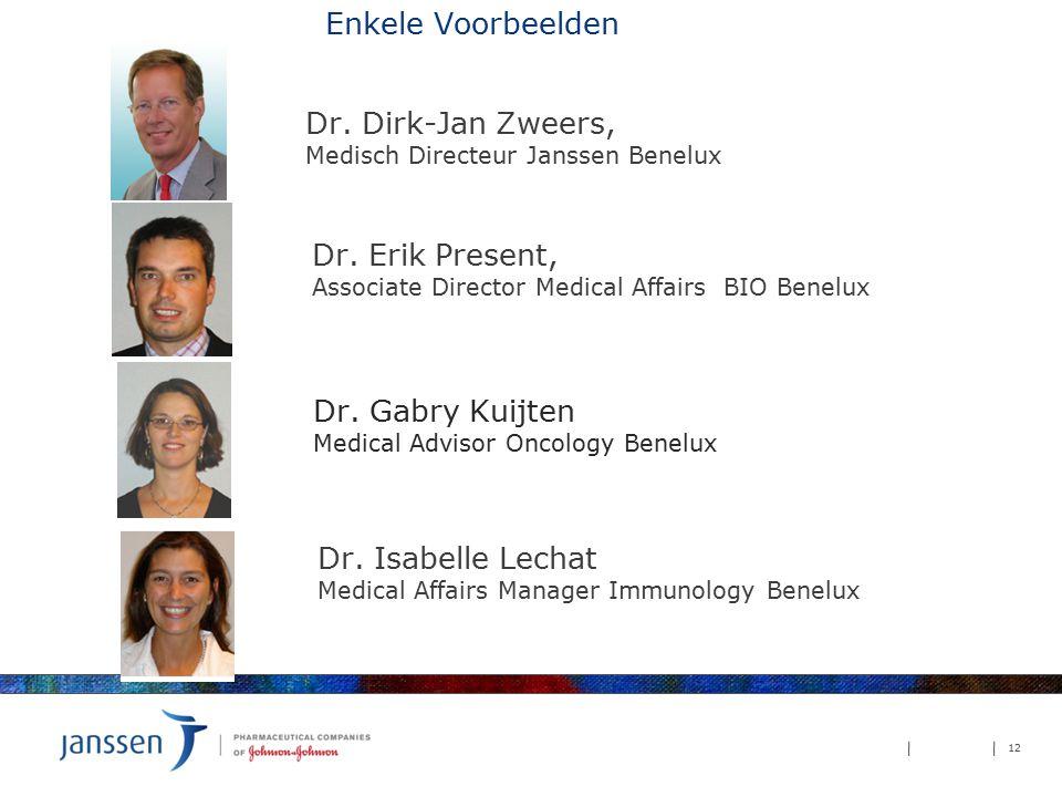 Dr. Dirk-Jan Zweers, Medisch Directeur Janssen Benelux 12 Enkele Voorbeelden Dr. Erik Present, Associate Director Medical Affairs BIO Benelux Dr. Isab