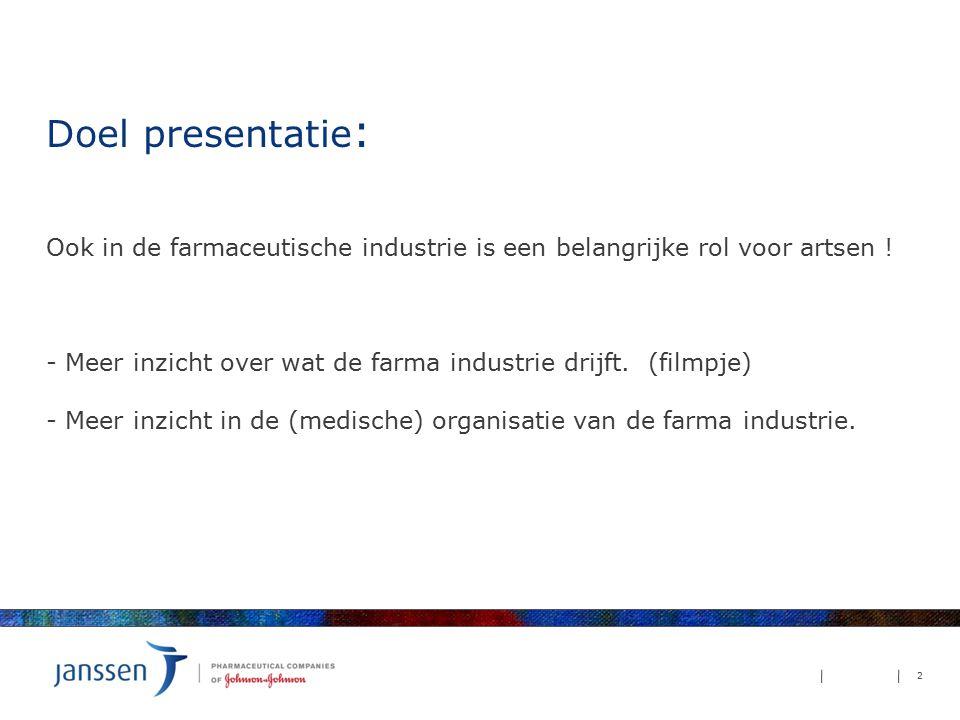 Doel presentatie : Ook in de farmaceutische industrie is een belangrijke rol voor artsen ! - Meer inzicht over wat de farma industrie drijft. (filmpje