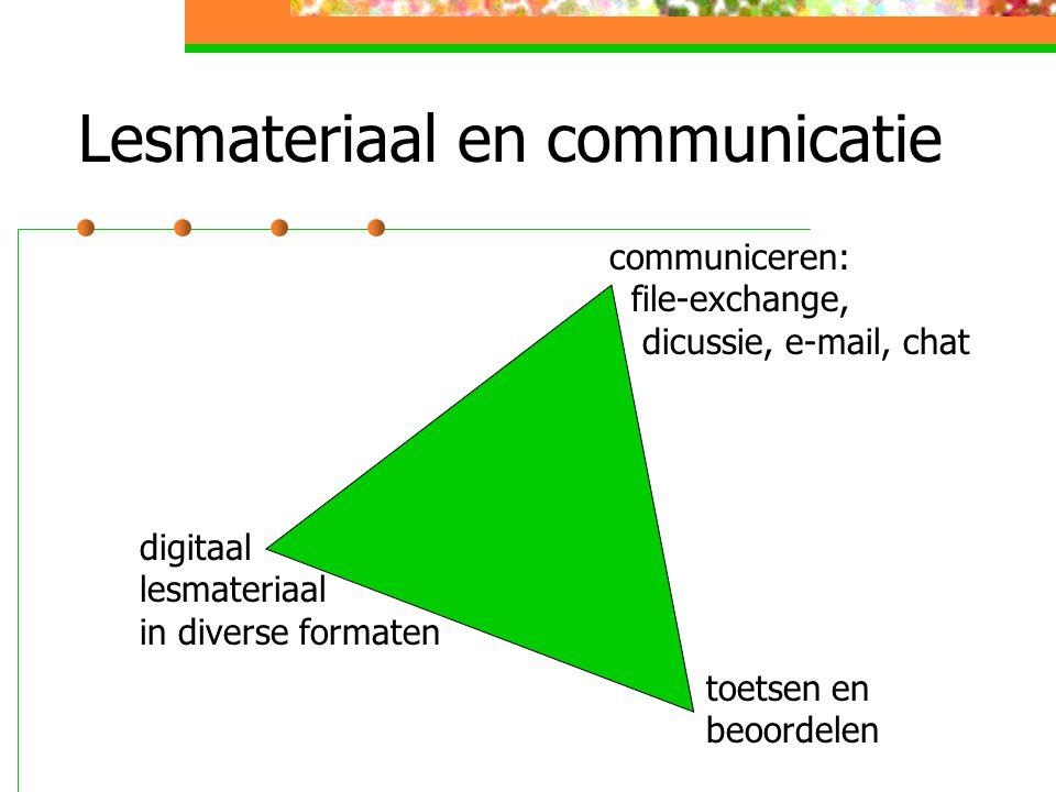 Lesmateriaal en communicatie digitaal lesmateriaal in diverse formaten toetsen en beoordelen communiceren: file-exchange, dicussie, e-mail, chat