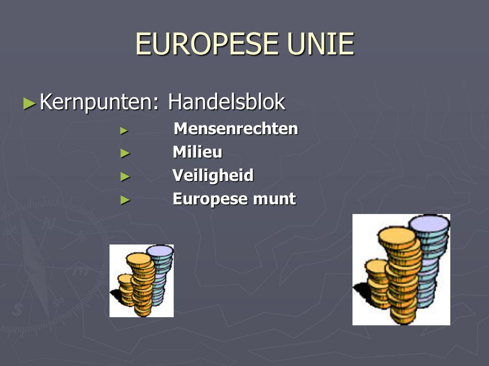 EUROPESE UNIE ► Kernpunten:Handelsblok ► Mensenrechten ► Milieu ► Veiligheid ► Europese munt